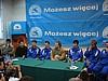 Konferencja prasowa - od lewej: Paweł Deląg (Polska), Matti Hautamaeki (Finlandia), Simon Ammann (Szwajcaria), Adam Małysz (Polska), Olaf Lubaszenko (Polska), Martin Schmitt, Sven Hannawald (obaj Niemcy)