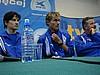 konferencja prasowa - od lewej: Martin Schmitt, Sven Hannawald (obaj Niemcy), trener Apoloniusz Tajner (Polska)