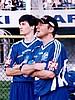 Martin Schmitt i trener Wolfgang Steiert (obaj Niemcy)